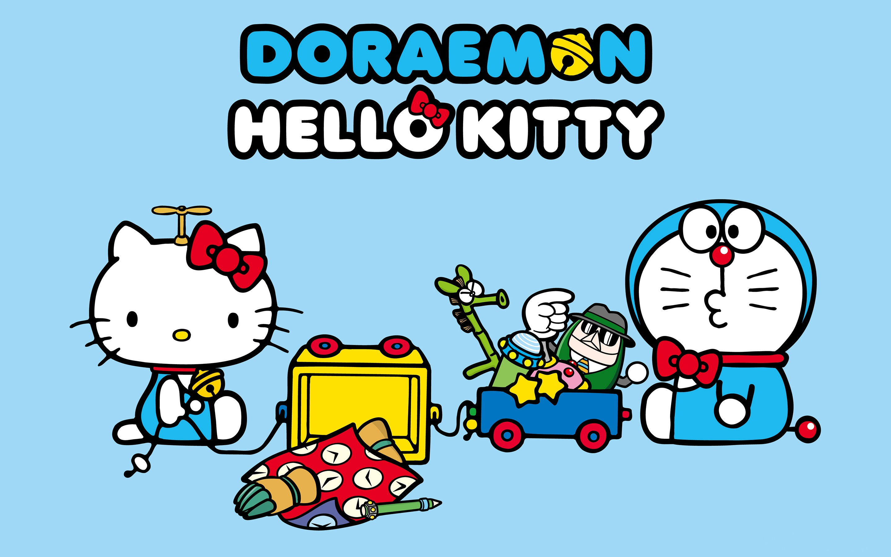 Wallpaper Doraemon With Hello Kitty 2880x1800 HD Picture Image