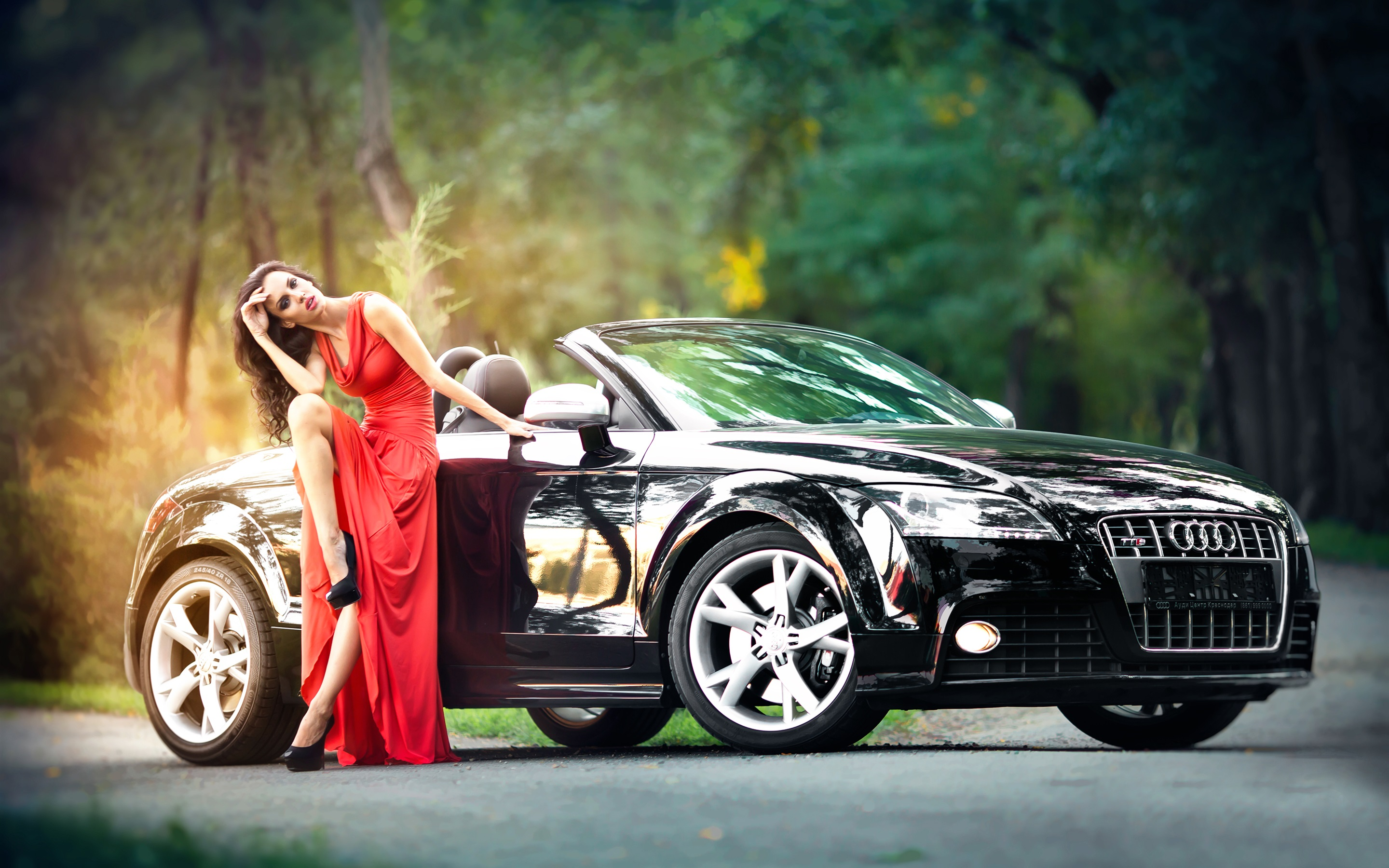 Wallpaper Red Dress Girl And Black Audi Car 2880x1800 HD Picture Image