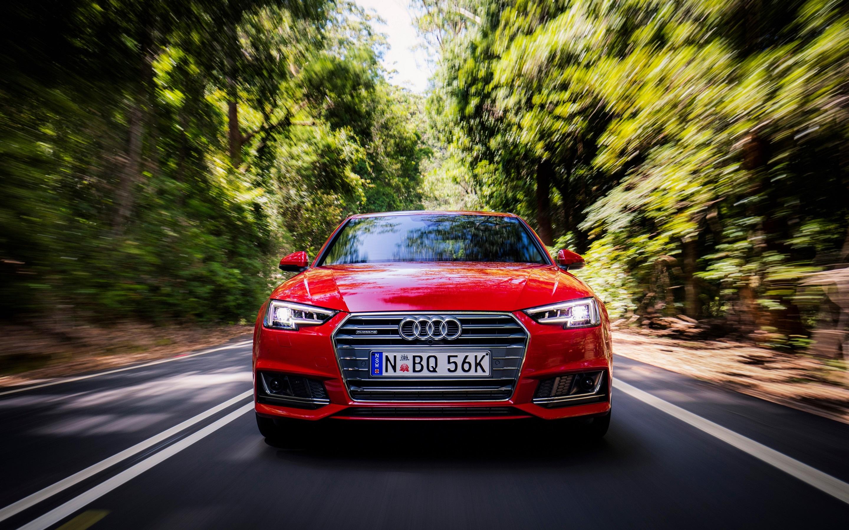 Wallpaper Audi A4 Sedan Front View Red Speed 2880x1800 Hd