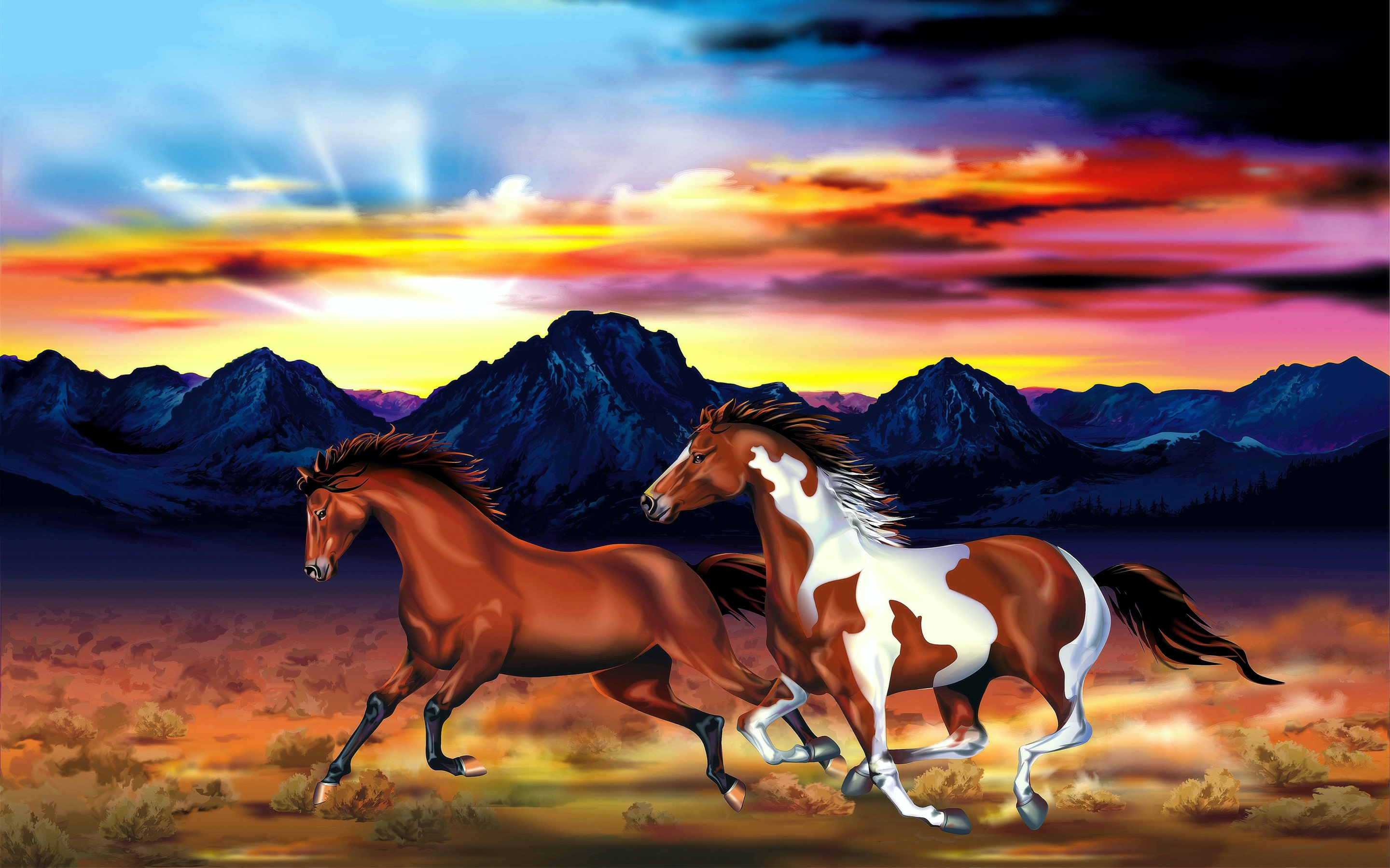 Wallpaper Two Horses Mountains Red Sky Sunset Art Drawing