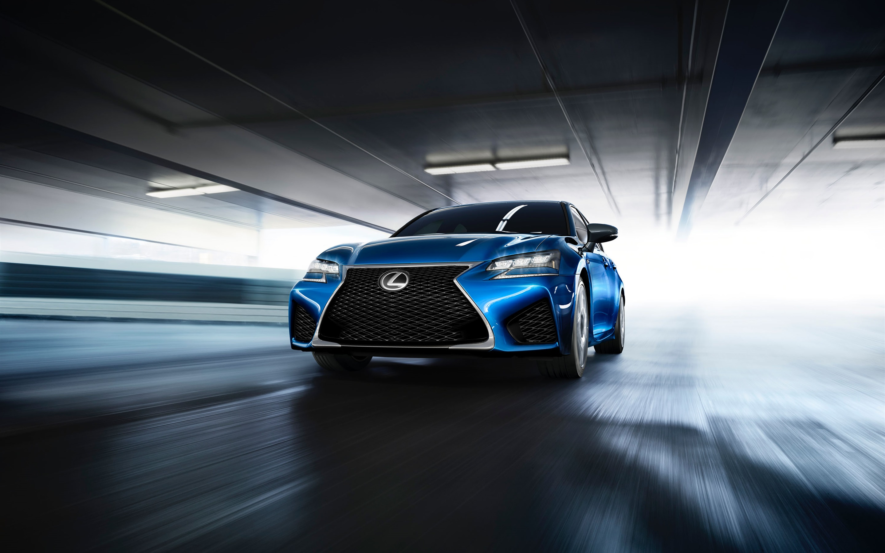 Wallpaper Lexus Gs F Blue Car Front View And Speed 2880x1800 Hd