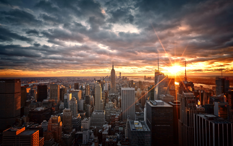 壁纸 曼哈顿,纽约,美国,摩天大楼,黎明,日出 2880x1800 HD 高清壁纸, 图片, 照片