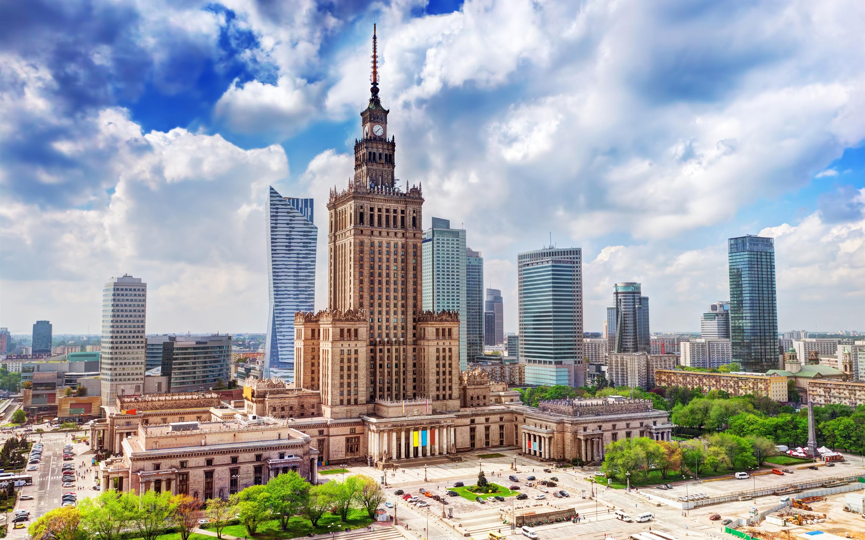 波兰华沙_波兰,华沙,城市,科学宫,摩天大楼,云 壁纸