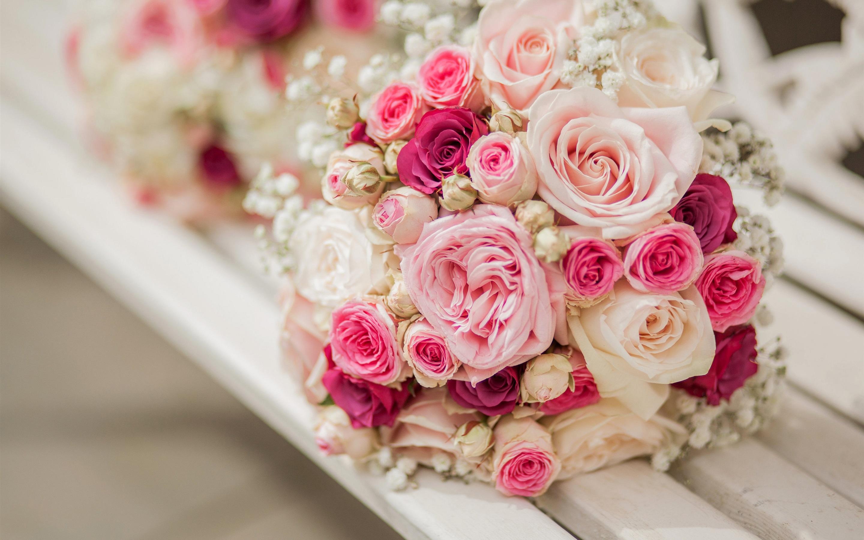 粉红色玫瑰花壁纸_花束玫瑰花,粉红色和白色,板凳 壁纸