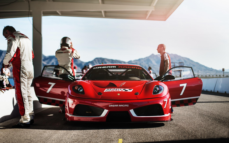 Wallpaper Ferrari F430 Dream Racing Red Supercar Front View