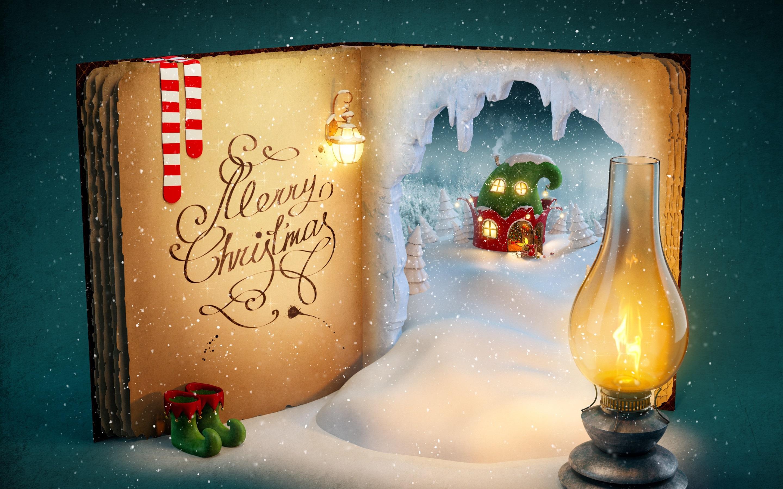 Fonds D écran Joyeux Noël Livre Magique Neige Lumières