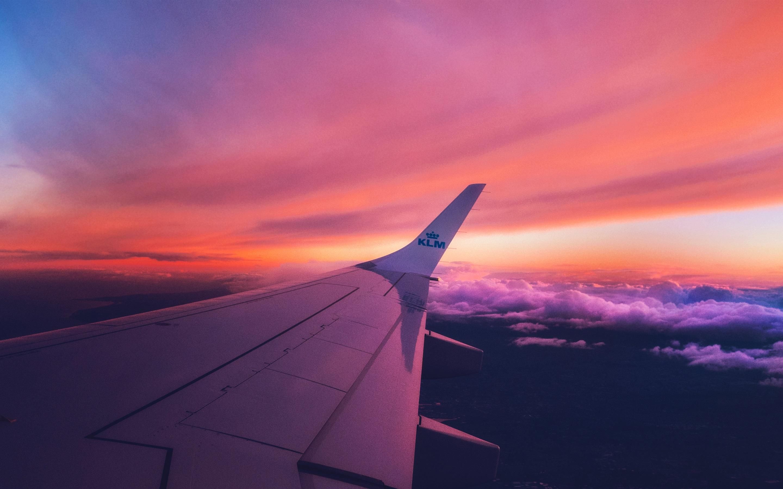 Wallpaper Aircraft Wing Sunset Clouds 3840x2160 Uhd 4k