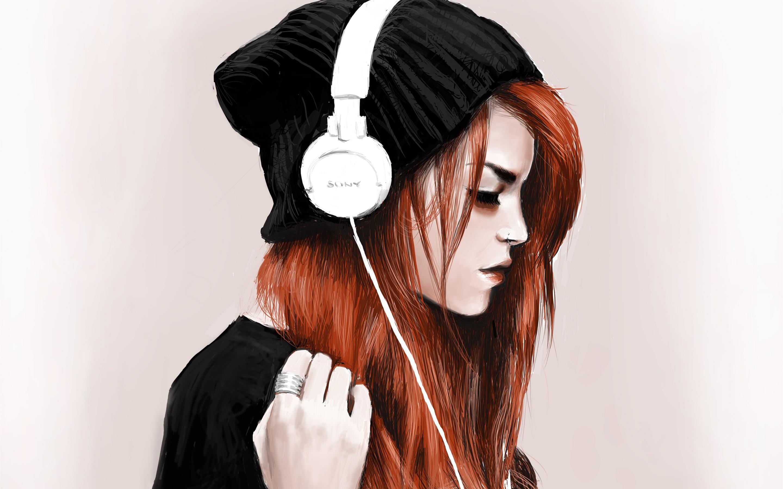 Augen Bäume Herbst Dunkle Nacht Wald Wald Wallpaper: Rote Haare Mädchen, Kopfhörer, Musik Hören, Kunst