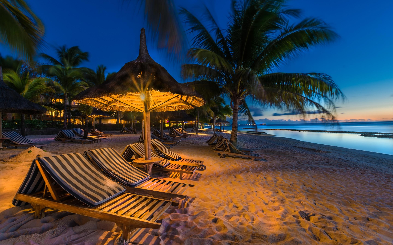 壁纸 夜晚,海滩,大海,棕榈树,日光浴床,灯光 2880x1800 Hd 高清壁纸 图片 照片