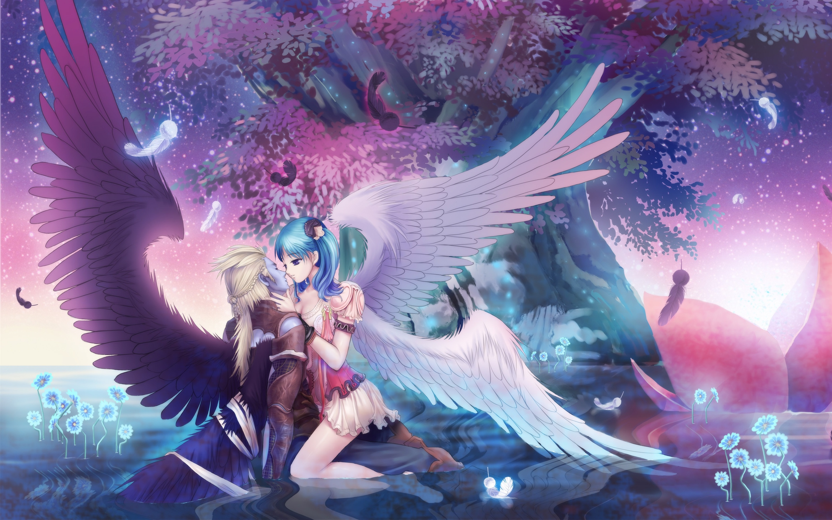 Wallpaper Angel Girl Kiss Boy Wings Trees Beautiful Anime Picture 2880x1800 Hd Picture Image