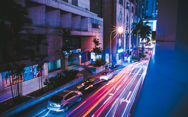 Обои cars, улица, дома, ночь, машины, свет. Города foto 7