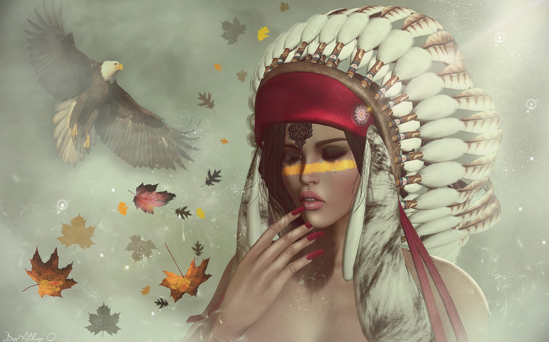 Fonds D Ecran Fille Indienne Plumes Aigle Art Fantastique 2880x1800 Hd Image