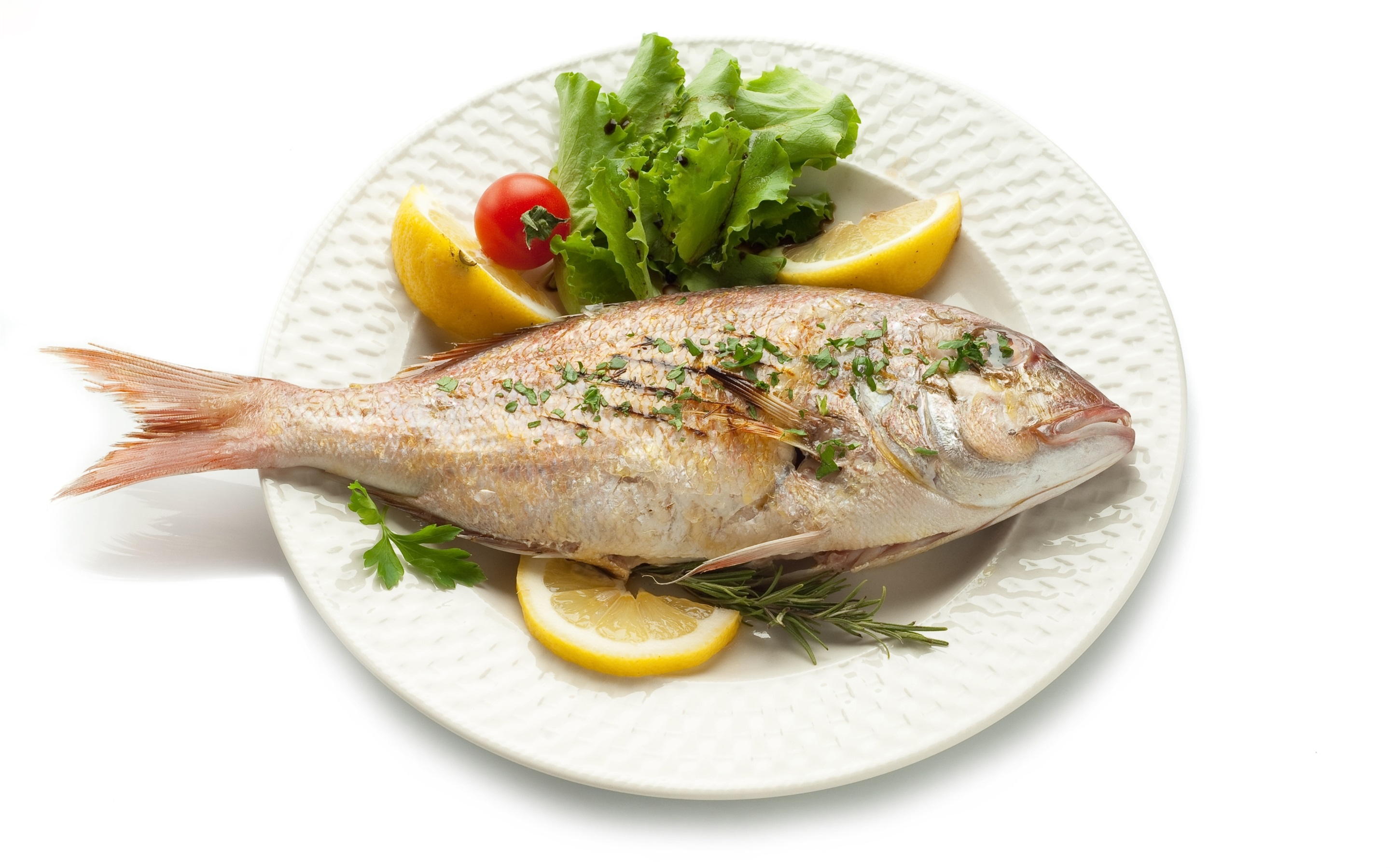 Wallpaper Fried fish, food, white background 2880x1800 HD Picture, Image