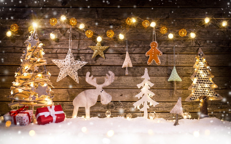 Hintergrundbilder Frohe Weihnachten.Frohe Weihnachten Dekoration Baum Hirsch Lichter
