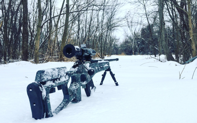 Wallpaper Sniper Rifle Snow Trees Winter 2880x1800 Hd