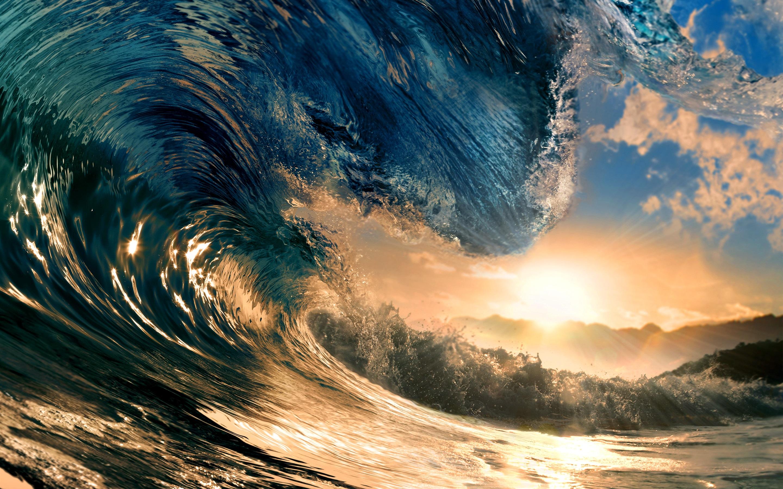 Wallpaper Big Wave Sea Sun 2880x1800 Hd Picture Image