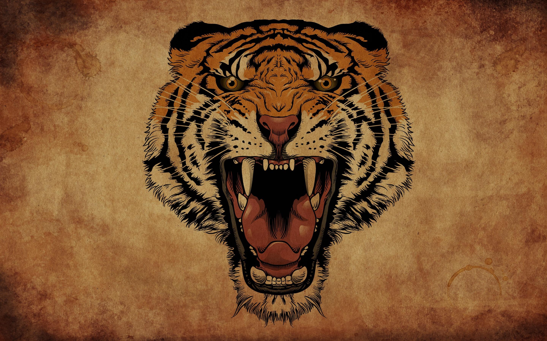 Fonds d'écran Tigre rugissement, visage, dessin d'art 2880x1800 HD image