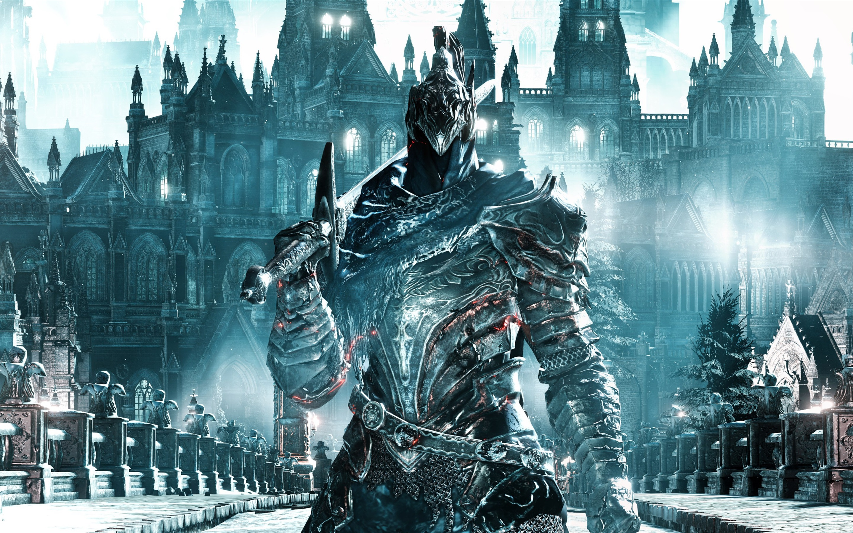 Wallpaper Dark Souls Iii Warrior Armor Sword 3840x1200 Multi