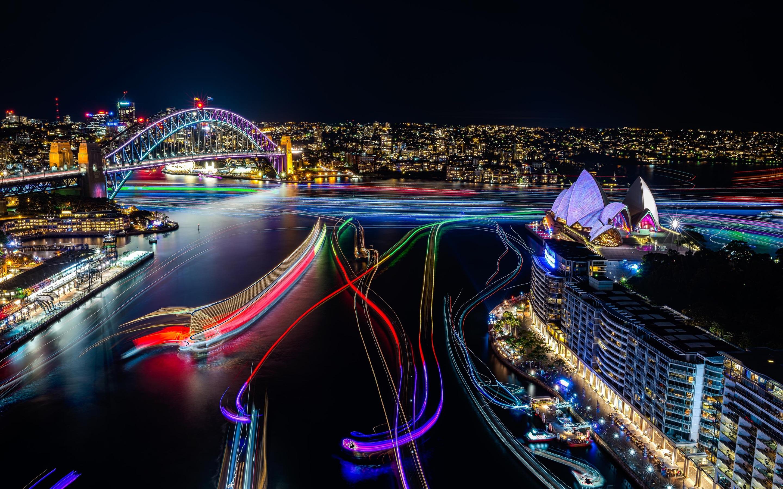 wallpaper sydney, beautiful city night view, lights, opera house