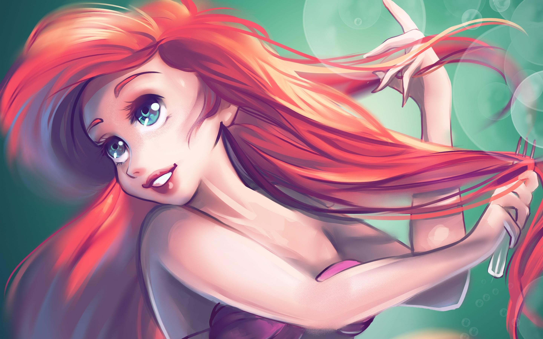 Die Kleine Meerjungfrau Rote Haare Blaue Augen 2880x1800 Hd