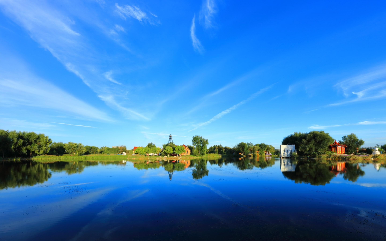 壁紙 美しい公園 湖 木 水面反射 青空 中国 2880x1800 Hd 無料の
