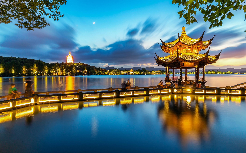 壁紙 杭州 夕影亭 湖 公園 夜 ライト 中国 x1800 Hd 無料のデスクトップの背景 画像