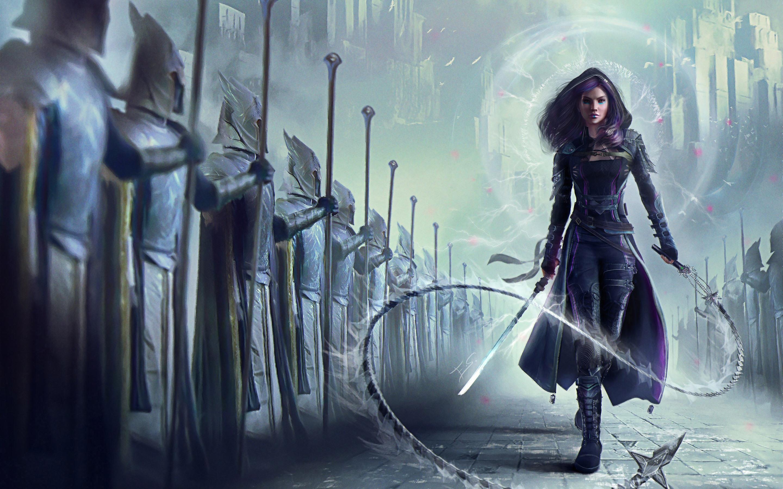 Wallpaper Purple Hair Fantasy Girl Sword Whip 2880x1800 Hd