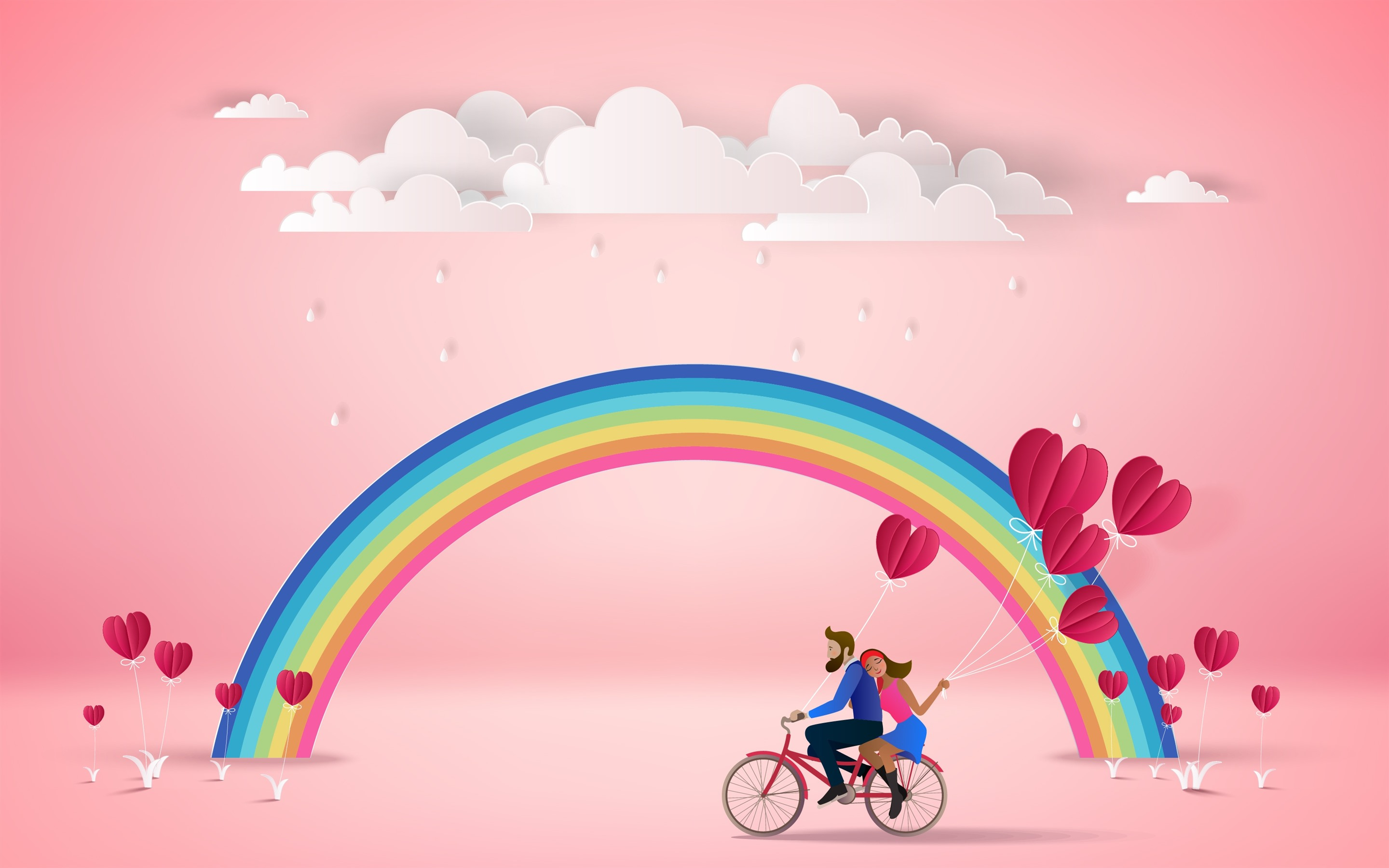 Wallpaper Rainbow Clouds Lovers Love Hearts Pink Background