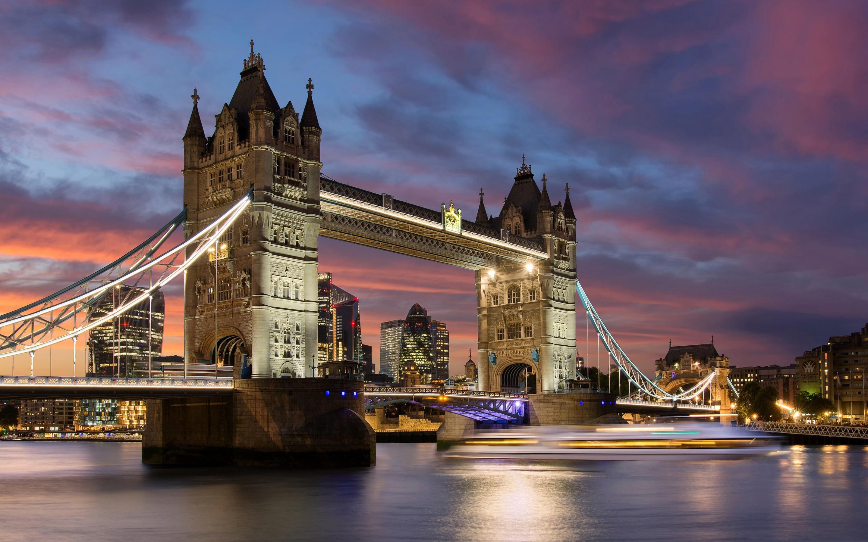 壁紙 イギリス ロンドン タワーブリッジ 川 夜 ライトへの旅行