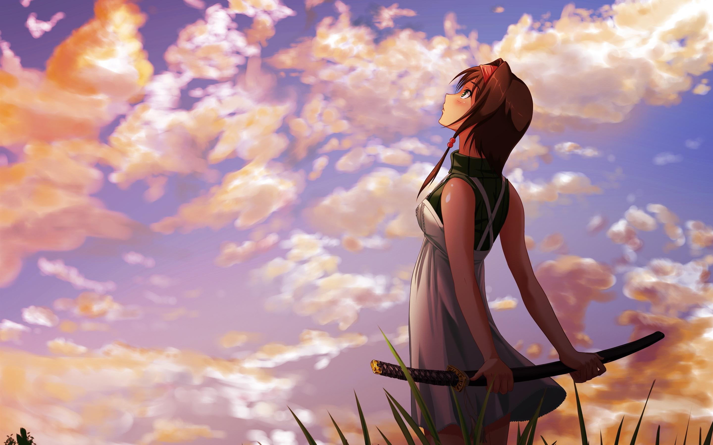 Wallpaper Anime Girl Look At Sky Katana Clouds Sunset 2880x1800