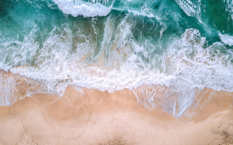 Wallpaper Beautiful Beach Sea Waves Foam Top View