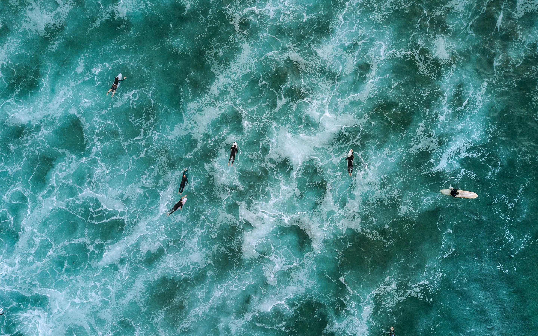 壁紙 青い海 サーフィン 波 トップビュー ドローン写真 2880x1800