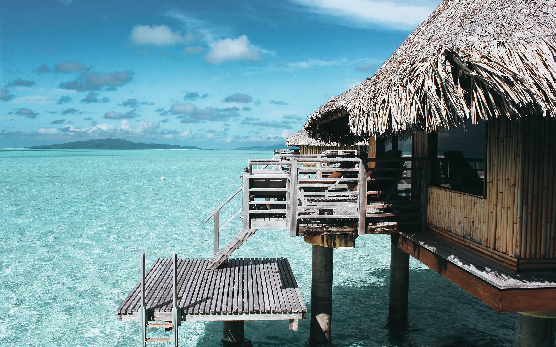 Wallpaper Sea Beach Clear Water Hut
