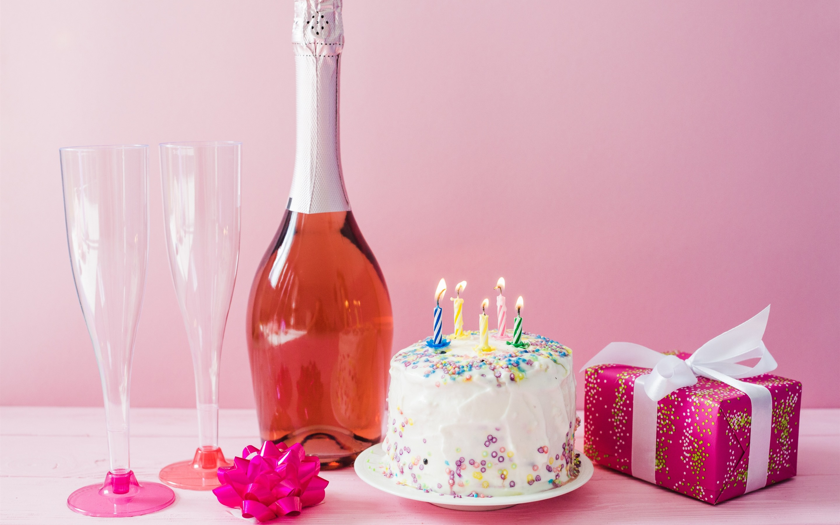Wallpaper Birthday Cake Candles Fire Wine Gift 2880x1800 HD