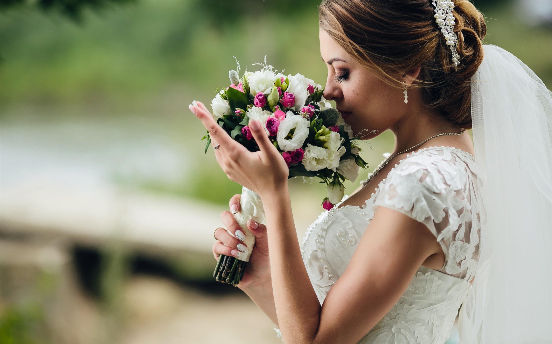 Mariage Fond D écran Hd Télécharger: Fonds D'écran Mariée, Bouquet, Fleurs, Fille, Mariage