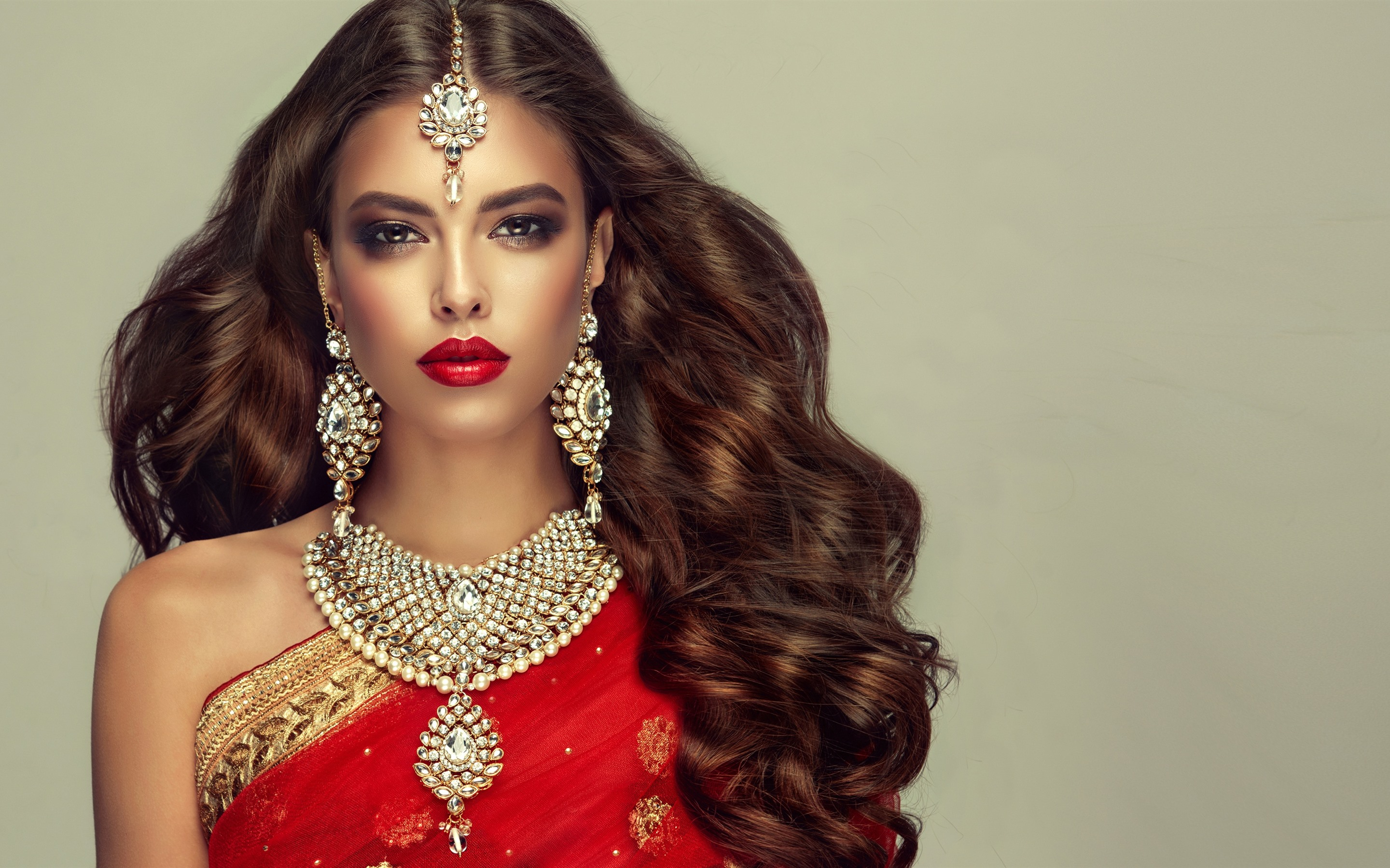 dd2534f719 Wallpaper Indian girl, fashion, hairstyle, necklace, earring ...
