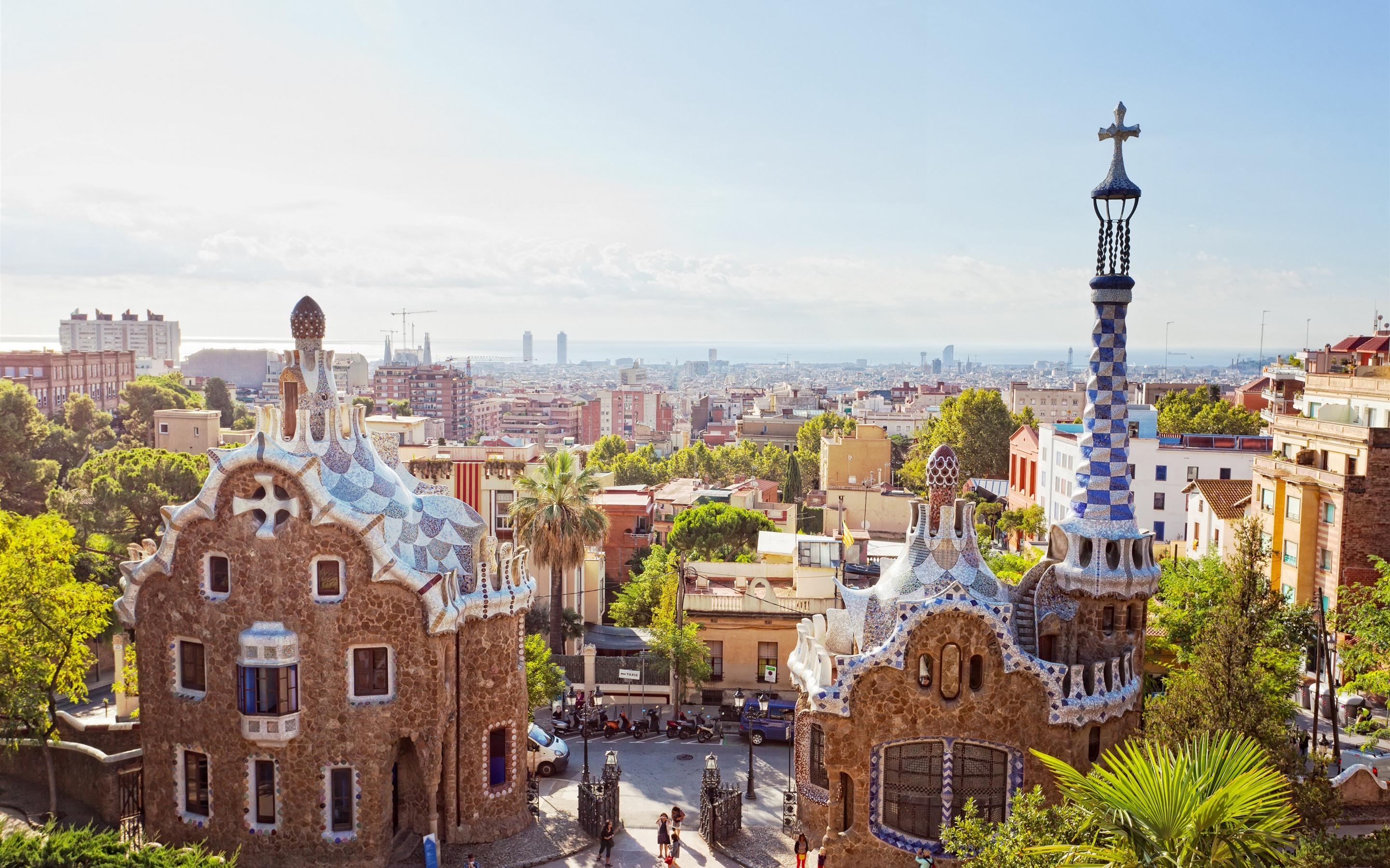 Wallpaper Spain, Barcelona, city, sun rays 3840x2160 UHD 4K ...