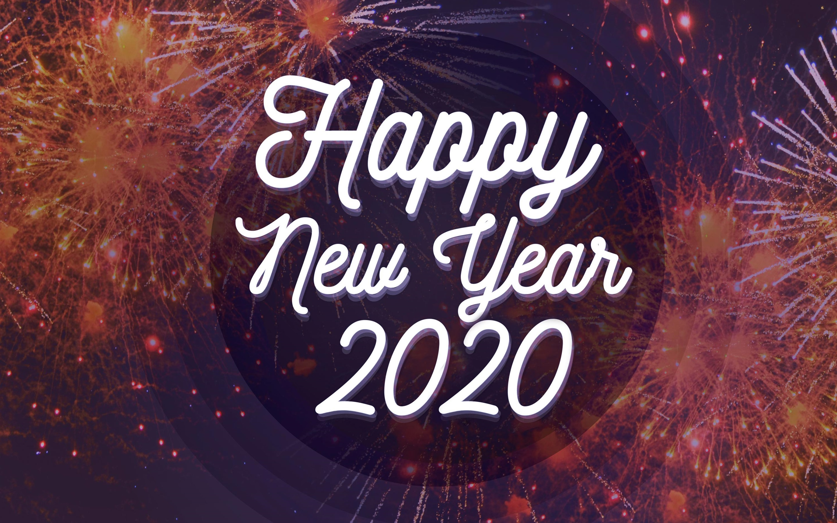 Wallpaper Happy New Year 2020 Fireworks Background 2880x1800 Hd