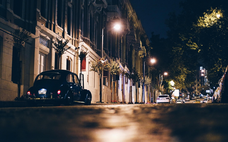 Обои cars, улица, дома, ночь, машины, свет. Города foto 8