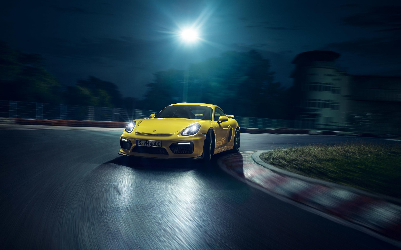 Wallpaper Porsche Yellow Supercar Speed Night Lights 2880x1800 Hd Picture Image