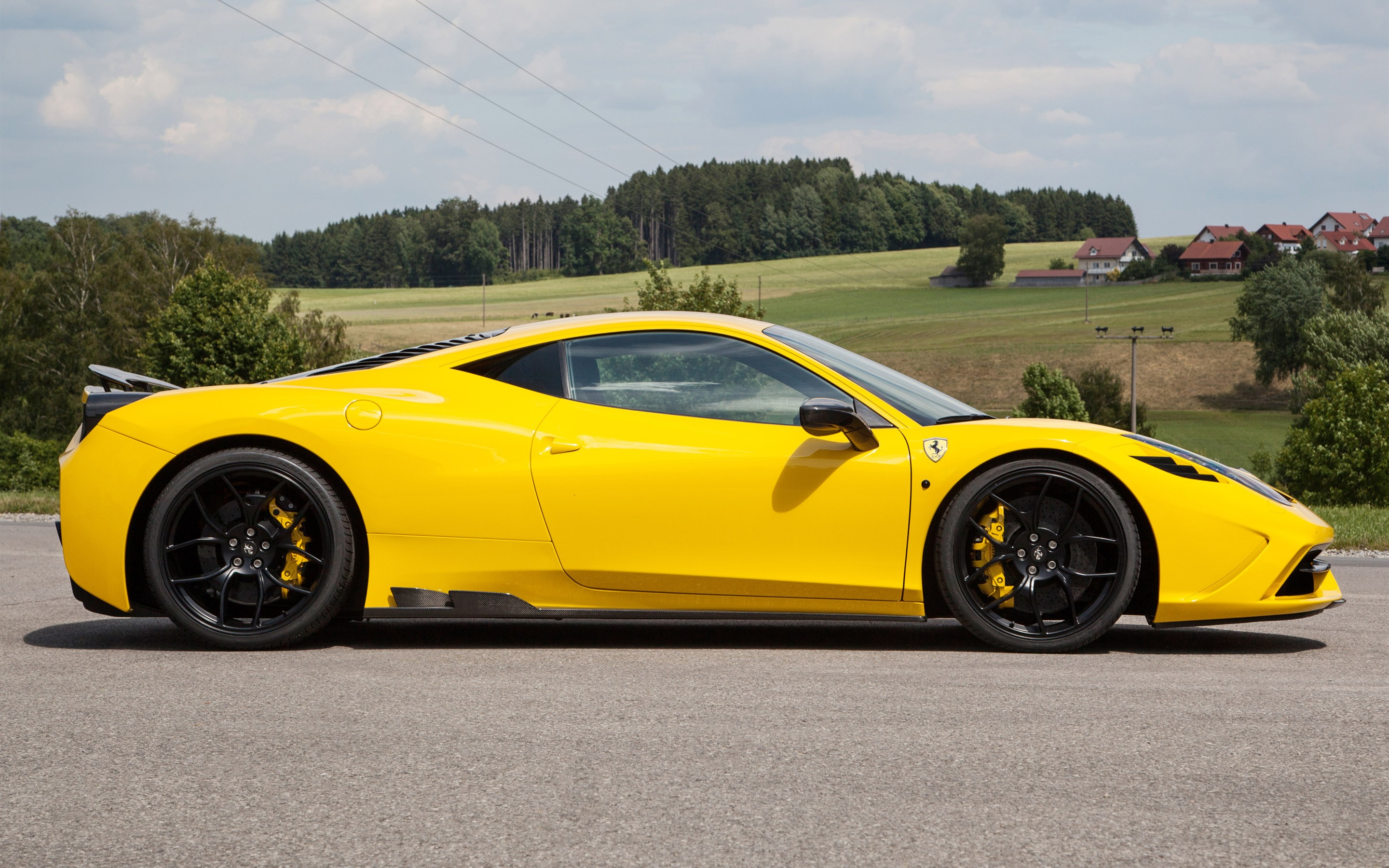 Wallpaper Ferrari 458 Yellow Supercar Side View Countryside 2880x1800 Hd Picture Image