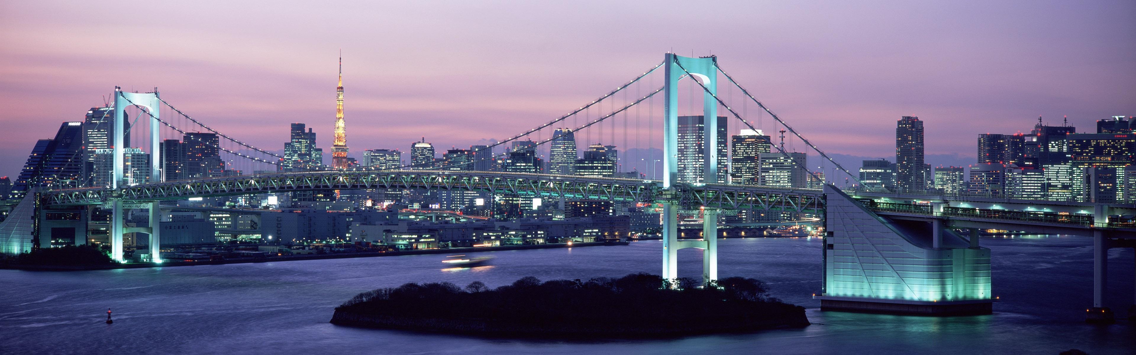 壁紙 レインボーブリッジ 夕暮れ 高層ビル ライト 東京 日本 3840x10 マルチモニターパノラマ 無料のデスクトップの背景 画像