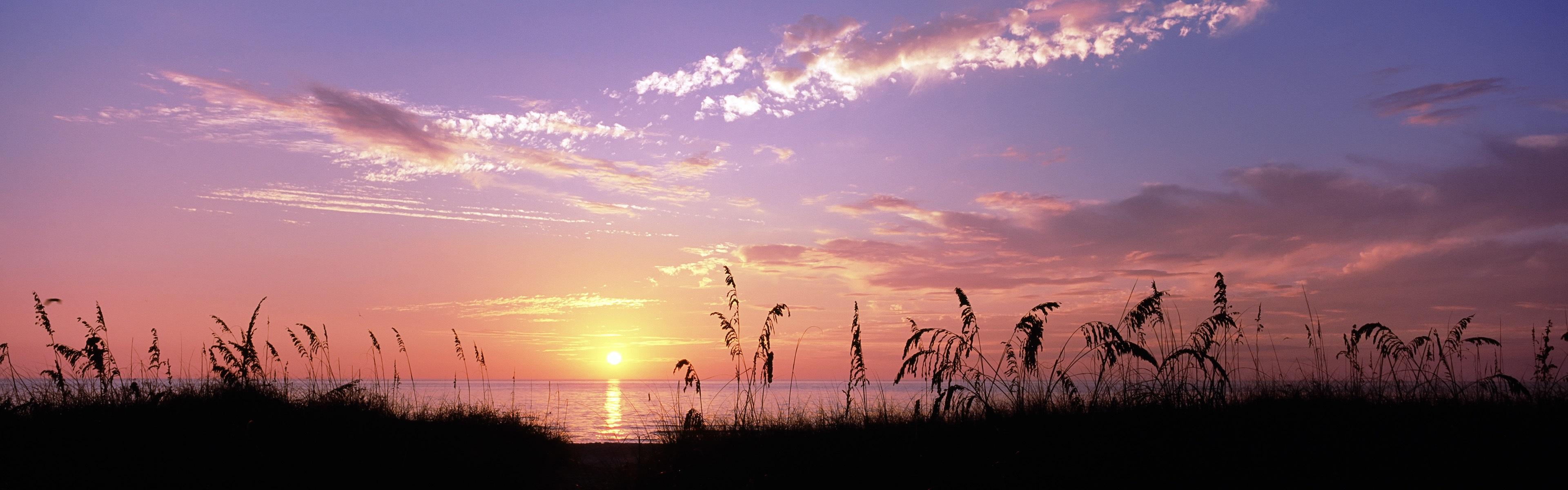 Sea Sunset Grass Venice Beach Florida USA Wallpaper 3840x1200 Multi Monitor