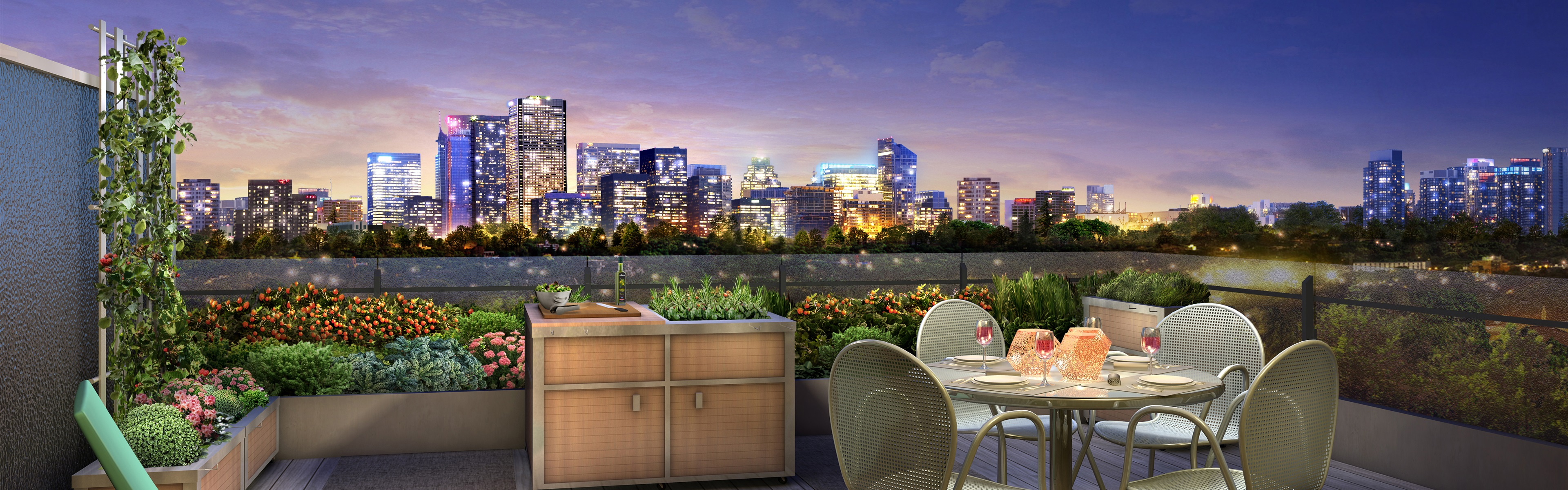 City night terrace lights dinner wine 3d design for Terrace night