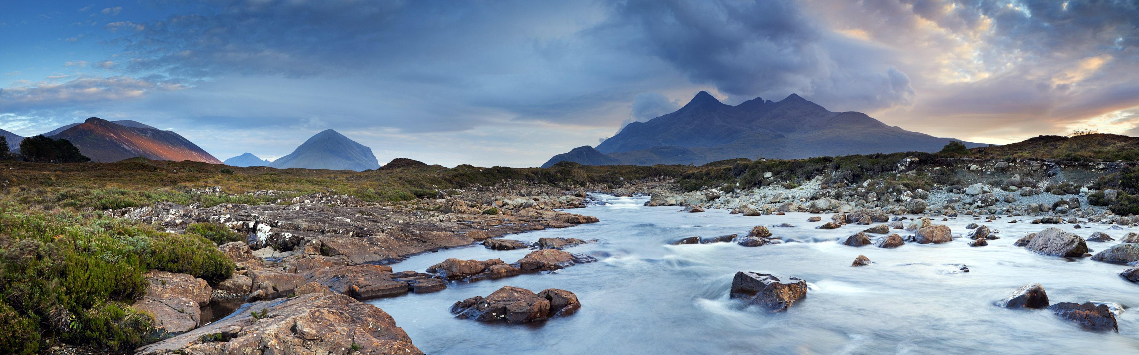 Wallpaper Cuillin Isle Of Skye Scotland Uk Water Clouds