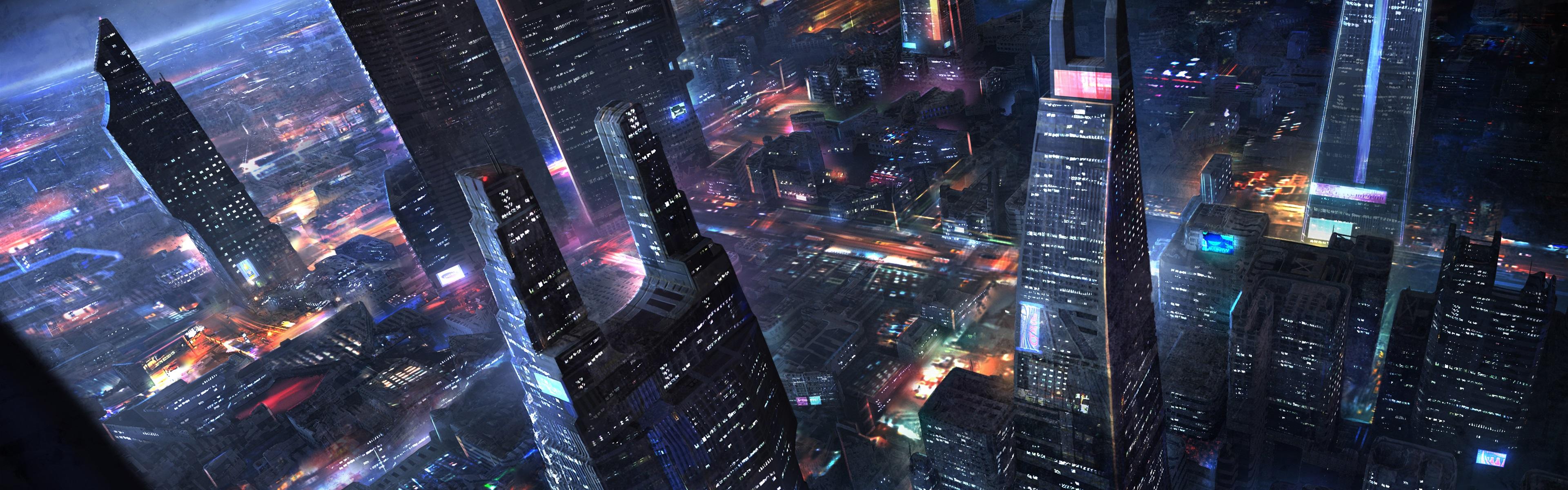 壁紙 未来都市 高層ビル 夜 ライト アートデザイン 3840x1200