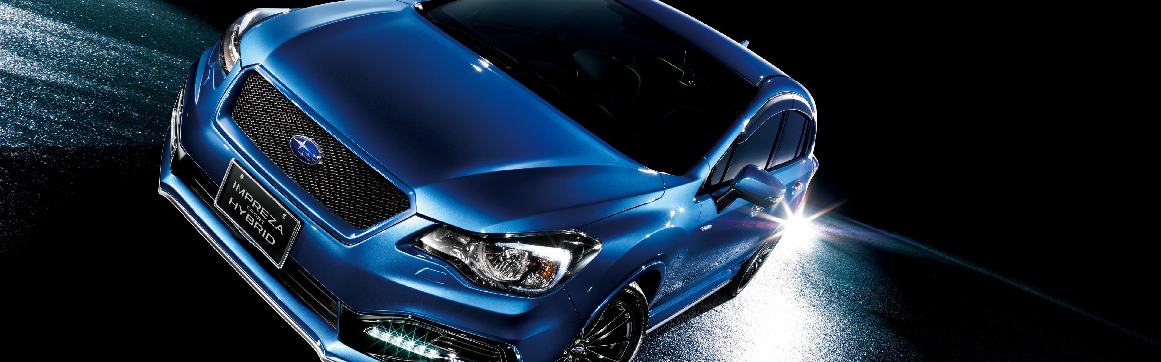 Wallpaper Subaru Impreza sport hybrid blue car at night