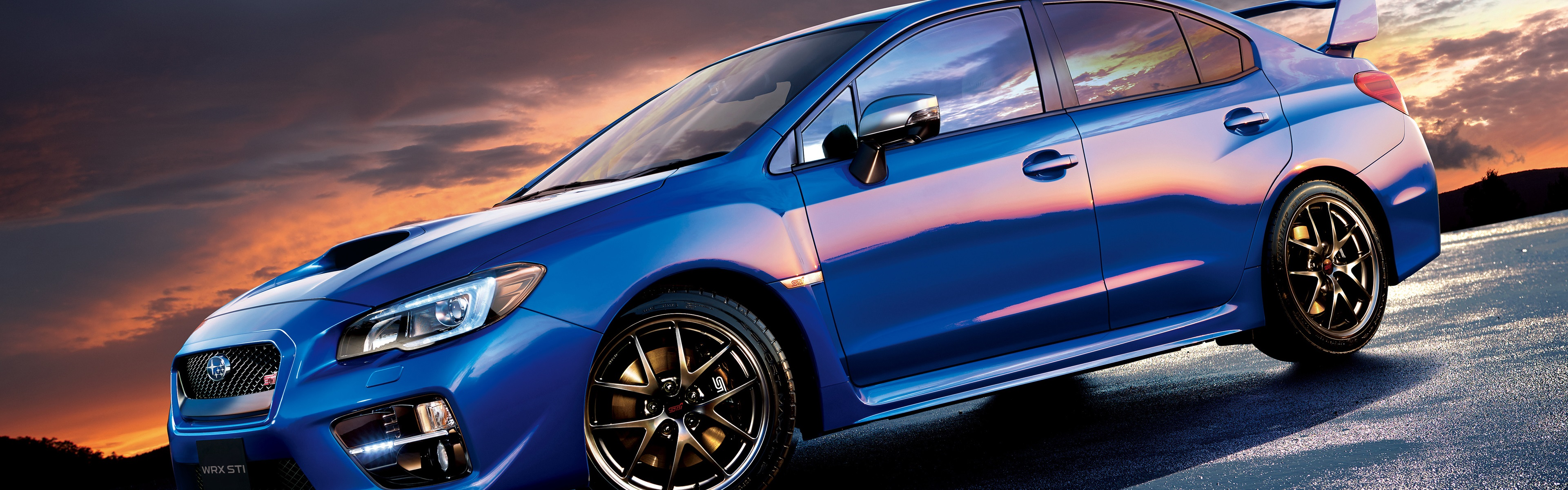 Wallpaper Subaru STI WRX blue car side view 3840x2160 UHD 4K