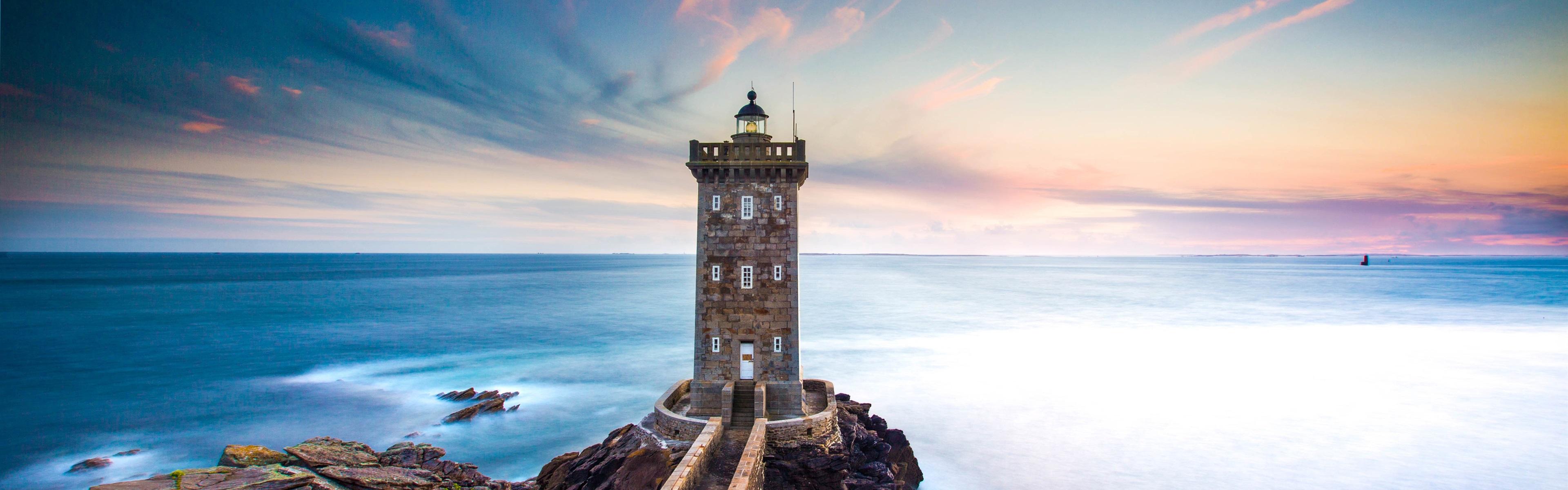 France Kermorvan Lighthouse Sea Coast Dusk Wallpaper