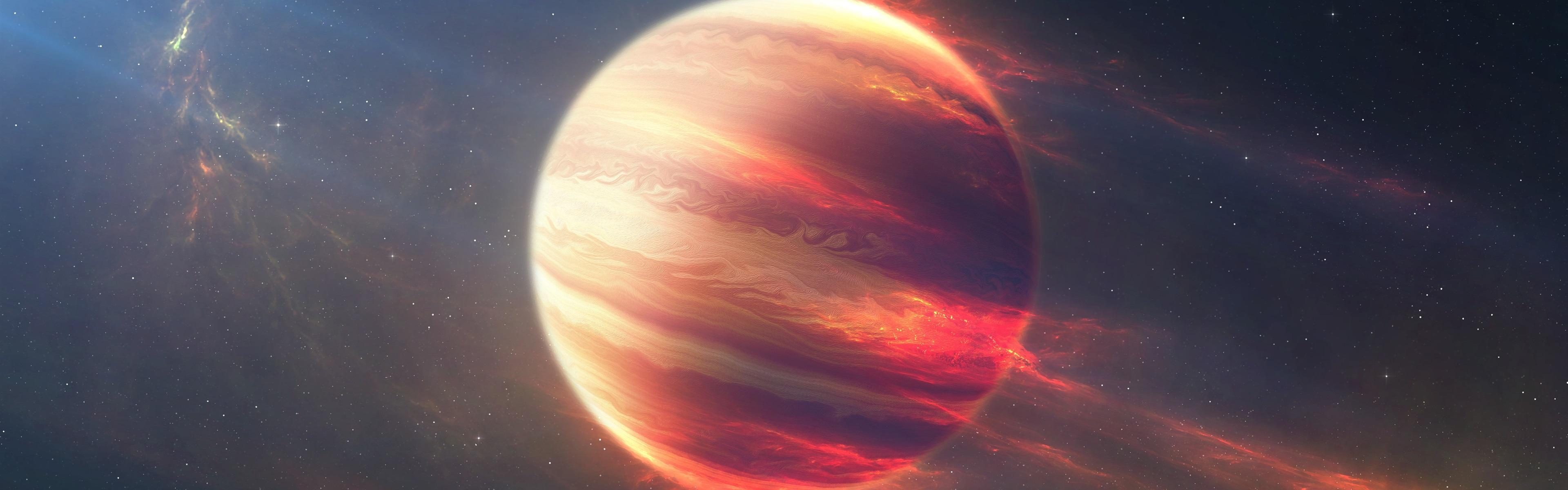 壁紙 宇宙 宇宙 赤い惑星 ストリップ 3840x1200 マルチモニター